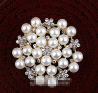 "Wholesale Off Price Wholesale - 5%off (120pcs lot) 1.2"" Silver and Gold FACTORY PRICE Handmade Gem Flatback Metal Rhinestone Button With Clear Flower Shape Pearls"