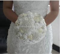 Wholesale Silk Wedding Bridesmaid Bouquets - 2015 Handmade Beaded Pearl Silk Bridal Wedding bouquet bridesmaid Blue White Artificial Flower Wedding Bouquet Flowers Wrist Corsage