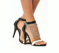 seksi ayak zinciri ayak bileği toptan satış-Seksi Püsküller Halhal Altın / Gümüş Ayak Zincirler Yüksek Topuklu SLAVE ANKLE Yüksek topuklu ayakkabılar Katmanlı Ağır Metal Halhal Vücut Jewellry Ücretsiz DHL