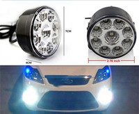 Wholesale car led fog lights - Super Bright DRL 2pcs x 9 LED Car head Front Round Fog Tail light Off-road Lamps parking Lamp Daytime Running Lights