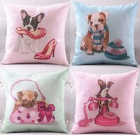 Wholesale Dog Velvet Shoes - 4 Styles Lovely Dogs Cushion Covers Dog Puppy Pet With High Heel Shoes Handbag Christmas Clothes Hat Telephone Print Pillow Cover Pillowcase