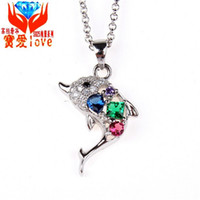 Wholesale Custom Korean Jewelry - Dolphins love Korean jewelry pendant Guoyin 925 sterling silver necklace trade single fall custom processing factory