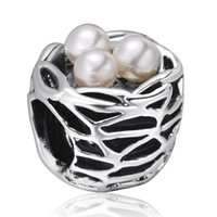 Wholesale Pearl Necklace Bird Charm - Pearls Birds Nest Charms European 925 Sterling Silver Beads For Pandora Snake Chains Necklace Bracelet Women jewelry