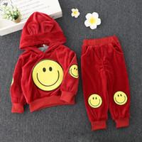 Wholesale Velvet Smile - Winter kids clothes girl boys smile face hoodies+pant set 2 pieces children long sleeve velvet clothes suit 2 colors