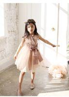 Wholesale Waist Tutu Dress - 2016 new princess girls dress sleeveless baby girl dresses big bow waist tunic tutu dress children party skirts kids clothes