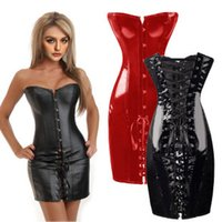 Wholesale Pu Leather Binder - Wholesale-PU corset sexy corpete chest binder leather gold corsets and bustiers corpetes e espartilhos bustier xxl plus size women