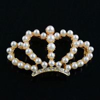Wholesale Appliques For Clips - 2015 New Pearl Crown DIY Alloy Applique (no clips) DIY handmade accessory for baby girl headbands hair clip