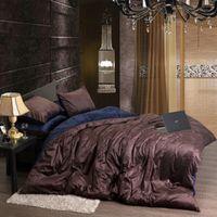 Wholesale Thick Bedding Sets - Wholesale-Flannel Fleece Winter Thick Duvet cover sets Coffee Queen King size 4pcs Warm Velvet Bedding set bedclothes Bedsheet Bed linen