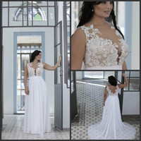 Wholesale plus size beach wedding dresses online - New Plus Size Beach Wedding Dresses A Line Sheer Bateau Neck Sweetheart Lace Top Bridal Gowns White Nude Cheap High Quality Brides Gowns