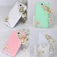 Wholesale Galaxy Note Ii Pink Case - S5Q 3D Lovely Heart Hard Case Cover Back Skin For Samsung Galaxy Note 2 II N7100 AAACLX