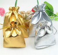 Wholesale Wholesale Weave Packaging - Jewelry Pouch Package Gold sliver Foil Organza Candy Earing loot bags packing Wedding goods Gift packing ornament bag factory price