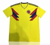 Wholesale Uniform Camp Shirts - 2018 Colombia World Cup Jerseys Uniforms Yellow 10 JAMES 9 FALCAO 11 CUADRADO 8 AGUILAR 13 GUARIN SANCHEZ Shirt