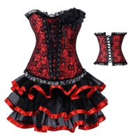 Wholesale Hen S Party - New Sexy Corset Women GothicWholesale-free shipping Rouge Corset & tutu  skirt Fancy dress outfit Hen Party Costume
