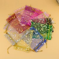 100pcs / lot Mixed Color Organza Jóias Gift Bags 9 * 12cm Drawstring Bags Star Moon Pattern Organza Bags Pouch