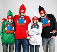 Wholesale Super Cute Coats - 2016 Fashion Unisex Cute Super Mario Hoodie Stylish Outwear Warm Funny Jacket lovers Coat M-XXXL 4 Color Free Shipping