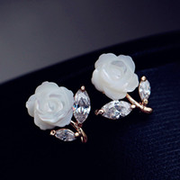 Wholesale Moonlight Jewelry - Korea natural mother of pearl inlay zircon rose Strobe moonlight as you nail earring Pentagram stud earrings elegant Korean ear jewelry
