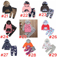 Wholesale Winter Baby Sweatshirt Set - XMas ins Baby Boys Girls deer Sets Hoodies + striped Pants Autumn Infant Toddler Outfits Stripe Floral leopard Geometric Pattern Sweatshirts