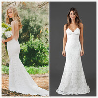 Wholesale Open Back Sheath Wedding Dress - Katie May Bridal Gowns 2016 Lace Wedding Dresses Spaghetti Straps Open Back Sexy Mermaid Bridal Dress Custom Made Beach Wedding Gowns
