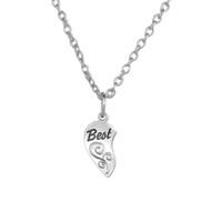 Wholesale Best Friends Puzzle Charms - Friendship Jewelry Zinc Alloy Antique Plated Floating Best Friend Message Puzzle Piece Heart DIY Charms Chain&Rope Pendant Necklaces