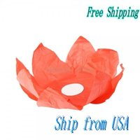 Atacado-Ship Dos EUA Papel Lotus Flower lanterna Desejando Red Light 14001593