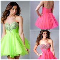 Wholesale Lime Green Short Ball Gown - Cheap Formal Ball Gown Sweetheart Beaded Short Tulle Lime Green Prom Dress 2015 Cocktail Dresses