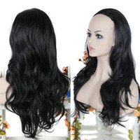 Wholesale women Half Wig Heat Resistant Synthetic Hair g quot Curly Wig Hairpieces Half Wigs for Women Black Wig