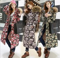 Wholesale Ladies Knee Length Coat - Camouflage Long Coat For Ladies Knee Length Silk Cotton Fill - In Long Sleeve Removable Quality Manmade Fur Hat Hoody Coat