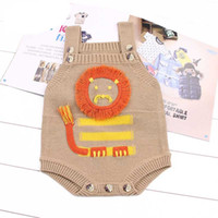 Wholesale Gray Sweater Baby Girl - Everweekend Baby Boys Girls Knitted Lion Sweater Rompers Brown Gray Color Cute Toddler Baby Autumn Spring Clothing