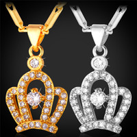 Wholesale Crown Necklace For Women Gold - MGC Crown Cute Pendant Necklace AAA+ Cubic Zirconia 18K Gold Platinum Plated Fashion Jewelry For Women P1414