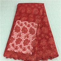 Wholesale French Red Dressing - New fashion red flower design african lace fabric with beads french net lace cloth for party dress BN12-9,5yards pc