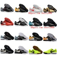 Wholesale Leather Turf Soccer Shoes - 2018 original white soccer cleats Tiempo Legend VII FG indoor soccer shoes low Tiempo Ligera IV IC TF turf mens football boots cheap new hot