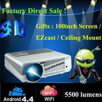 Wholesale-2016 5500lumens Android 4.2 HD LED Wifi Smart-Projektor 230W LED Lampe 3D-Heimkino-LCD Video Proyector Projektor TV Beamer