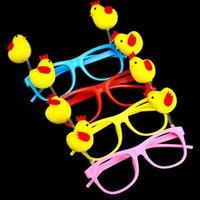 gelbe gläser karikatur großhandel-Cartoon Frühling Gelb Huhn Gläser Rahmen Für Kinder Erwachsene Brillen Brillen Home Geburtstag Party Geschenk