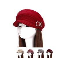 Wholesale C Cashmere - Bowknot Hat Creative Design Beret Add Cashmere Beanie For Women Winter Keep Warm Windproof Multi Color 13 8dha C