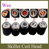 Wholesale Dual Coil Cartomizer Replacements - skillet coils wax burner dual coil ceramic coils skillet atomizer coil head replacement for skillet cartomizer single core cotton FJ098