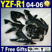 abs plástico yzf r1 venda por atacado-Para kit de carenagem YAMAHA R1 2004 2005 2006 preto INJEÇÃO moto de rua V5N1 04 05 06 yzf r1 carroçaria plástica