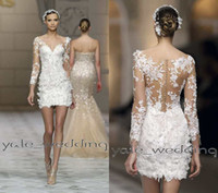 Wholesale Sexy Mini Beach Wedding Dress - 2016 Sexy Short Lace Wedding Dresses V Neck Illusion Long Sleeves Sheath Custom Made Summer Beach Petite Short Mini Wedding Gowns