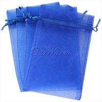 "Wholesale Sheer Jewelry Pouches - 100 pieces Deep Blue Sheer Organza Pouch 4""x6"" 10x15cm Wedding Favor Jewelry Gift Candy -PUH-15"
