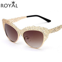 Wholesale Retro Flower Sunglasses - Wholesale-Cat Eye Sunglasses Women Metal Flower Lace Hollow Out Sunglass Vintage Retro Style Frame Eyewear Sun glass female ss176