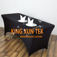 Wholesale Cheap Polyester Table Covers - 5pcs Lot Rectangular Lycra Spandex Table Cover Cheap Wedding Table Cloth For Event Party Decoration Free Shipping