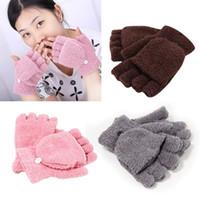 Wholesale Half Finger Mitten Gloves - Wholesale-Winter Fall Unisex Wrist Fingerless Glove Women Half Finger Flip Mitten Gloves