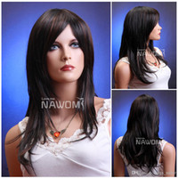 Wholesale fashion wigs medium long black wig straight women hair wig Synthetic fiber of Kanekalon pc ZL172 T30