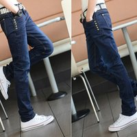 Wholesale Jeans Boys Feet - New Hot Selling Males Boys Men Fashion Casual Slim Small Feet Pencil Jeans Trousers Clothes 1672