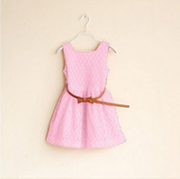 Wholesale Girl Wearing Miniskirt - Wholesale-Retail!2015 summer new fashion girl dress, solid color printed bowknot belt miniskirts, 3 to 12 years old girl wearing clothes