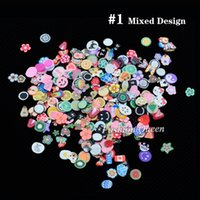 Wholesale Polymer Cane Mixed - fruit fimo 1pack 5mm Polymer Clay 3d Nail Art Decoration Mix Flowers Feather Fruit Fimo Cane For DIY Acrylic Nail Phone Supplies