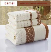 Wholesale Green Blue Bath Towels - diamond bath towel set 100% cotton gift 1pc bath towel + 2pcs face towel home textile camel blue green