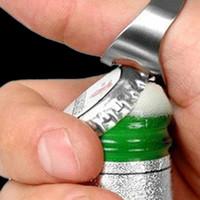 Wholesale Steel Ring Beer - Finger Ring Bottle Opener Stainless Steel Beer Opener 4 Colors Ring Opener Black Silver Red Gold 0702024