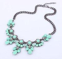 Wholesale Drop Gem Bib - Fashion Bib Choker Necklace Fluorescence Yellow Colors Crystal Gem Flower Drop For Women Statement Necklace 10 Colors For Choose