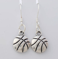 Wholesale Sports Fishing - Singe-Side Basketball Sports Earrings 925 Silver Fish Ear Hook 30pairs lot Antique Silver Chandelier E374 31.3x10.3mm