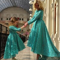 Wholesale mother daughter t shirts - New Arabia Daughter And Mother Dresses Dark Teal Jewel Ball Gown With Long Sleeves Hi Lo Evening Dress Flower Girls Dresses BO8941
